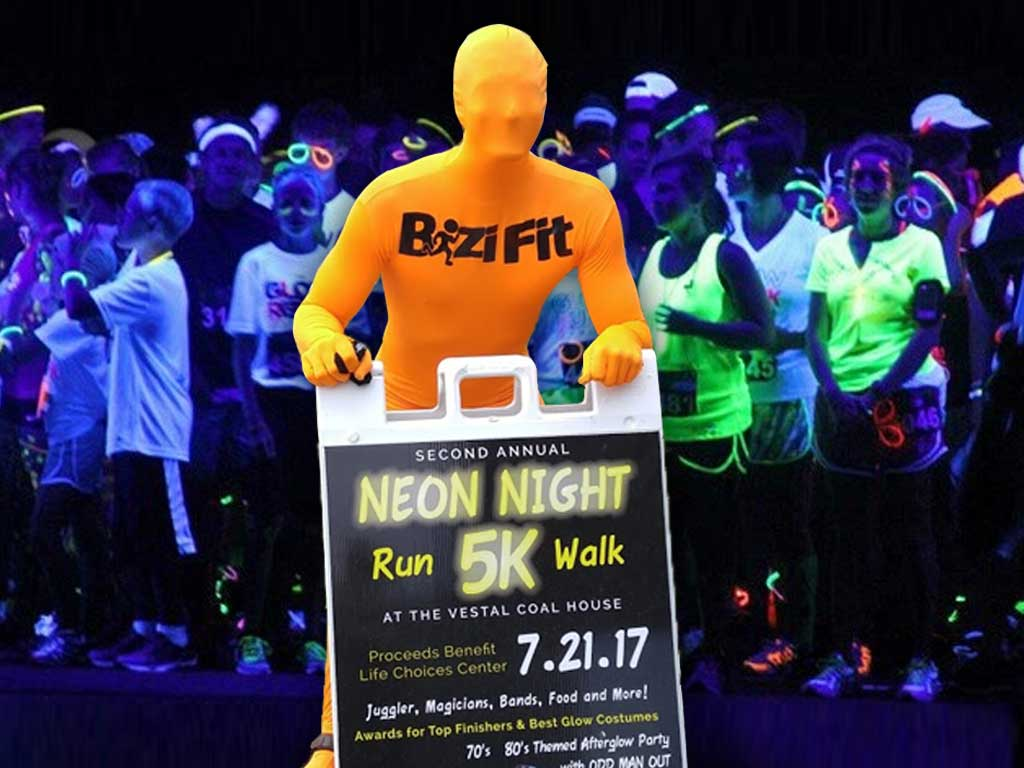BiziFit Giveaway Neon Night Run Vestal Coal House